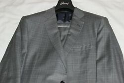 Brioni Men's Grey Plaid 100 Wool Made In Italy Suit Brand New 7995 Size Us 44l