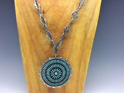 Vtg Zuni Needlepoint Turquoise Silver Pendant And Matching Chain Necklace - 102.7g