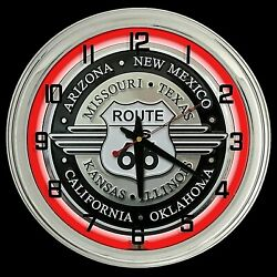 16 Route 66 Sign Red Neon Clock Garage Man Cave Decor