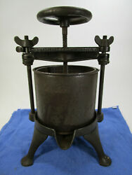 Antique N.f Streeter And Co. Rochester Cast Iron Fruit Lard Wine Press Complete