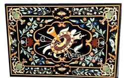 36 X 60 Inches Marble Dining Table Top Semi Precious Stones Inlaid Hallway Table