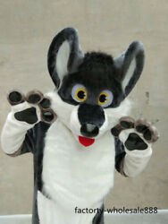 Fur Grey Dog Husky Mascot Costume Suits Adults Sizes Animals Outfits Party Dress