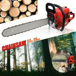 Usa 20and039and039 Bar 52cc Gasoline Chainsaw Gas Powered Wood Cutting Chain Saw 2-stroke