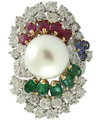 1.86ct Round Diamond Pearl Ruby Emerald Sapphire14k White Gold Cocktail Ring