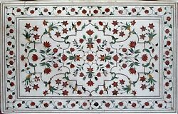 36 X 60 Inch Marble Dining Table Top Inlay Floral Pattern Royal Look Patio Table