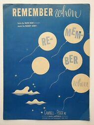 Remember When Sheet Music 1945 Piano Vocal Buck Ram Mickey Addy Ballad Song