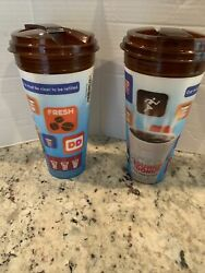 Dunkinandrsquo Donuts 24 Oz. Hologram Hot / Iced Coffee Refill Cup / Lid - Exp. 2016 .