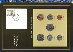 Coin Sets Of All Nations Guernsey W/card 1979-1984 Unc Andpound12050 Pence 1983