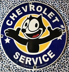 Vintage Style Chevrolet Service With Felix Cat Heavy Porcelain Sign 12in Round