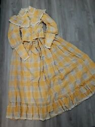 Vintage Victorian Rare 1890s Cheddar Cotton Plaid Bodice And Skirt Country/prairie