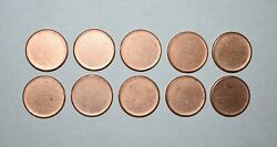 D10. Lot Of Ten 10 Type 2 With Rim Blank Errors Lincoln Cents - Unc - Red