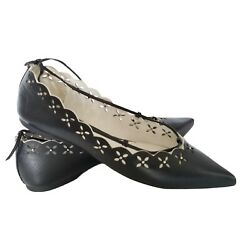 New Black Leather Lace-up Wrap Around Ankle Pointed Toe Flats 7m