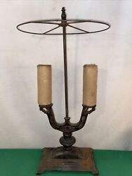 Vtg Antique 1920's Cast Iron Double Candelabra Electric Table Lamp Shade Frame