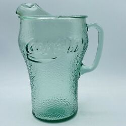Vintage Bubbled Clear Green Glass Coca-cola Coke Pitcher 64 Oz Large Perfect