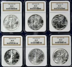 1986-2020 American Silver Eagles 35-coin Set Each Graded Ngc Ms69 - Brown Label