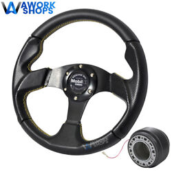 For 90-93 Acura Integra 320mm Pvc Steering Wheel Yellow Stitch W/ Mobil Cf And Hub