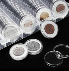 100pcs Collectible Silver Gold Coins Display Storage Box Set Case Grids 4-size