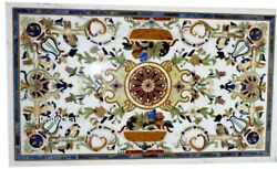 36 X 60 Inch Marble Dining Table Top Inlay Floral Design Royal Look Office Table
