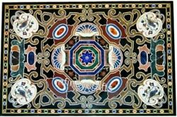 36 X 60 Inches Marble Dining Table Top Antique Design Inlaid Conference Table