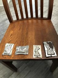 4 Old Antique Vintage Aluminum Tin Candy Molds