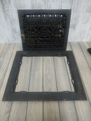 Antique Vintage Cast Iron Floor Grate Heating Vent 14 X 12 With Louvers, Work