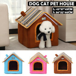 Foldable Soft Medium House Pet Bed Tent Igloo Warm Cosy Cave Cat Puppy Do