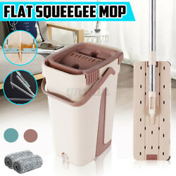 360anddeg Flat Squeeze Microfiber Mop And Bucket Set Home Floor Cleaning With