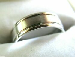 Genuine 18ct 750 Hallmarked 750 Heavy White Gold Solid Mens Brushed Wedding Band