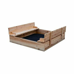 Be Mindful Extra Large Kids Sandbox with Cover and Bench Seat Open Box