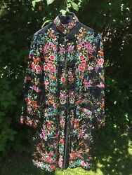Vintage Plum Blossoms Chinese Embroidered Silk Robe Coat Floral W/ Birds Size 38