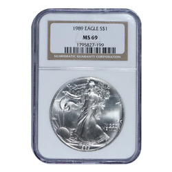 1989 American Silver Eagle Ngc Brown Label Ms69