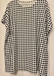 J Jill Black White Checked Print Luxe Supima Relaxed Tee Top Large