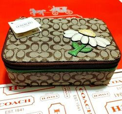 New 88 Coach Jewelry Box Floral Flower Daisy Holder Travel Khaki Multicolor Sig