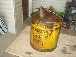 Vintage Early Rare Pennzoil Motor Oil 5 Gallon Metal Sign Can W/ Wood Handle