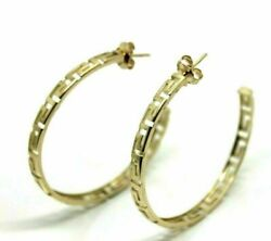 New 9ct Yellow Gold Greek Key Large Hoops Stud Earring - Free Express Post In Oz
