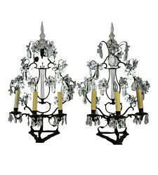 Antique Pair Of French Metal And Crystal Girandole Lamps