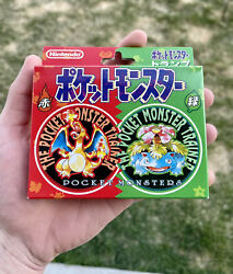 Pokemon Nintendo Playing Cards - Red And Green Poker Set 1996 Sealed Deck