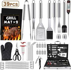 39pcs Bbq Grill Accessories Tools Set Stainless Steel Grilling Barbecue Case New