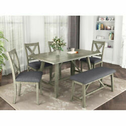 6pcs Rustic Style Dining Table Set Wood Dining Table +4cushion Chair +1bench Set