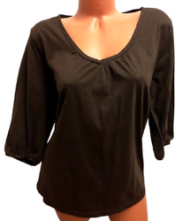 Cato Brown 3/4 Sleeves V Neck Women's Stretch Plus Size Tee Top 18/20w