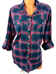 Torrid Blue Pink Plaid 3/4 Sleeves Front Pockets Plus Size Buttoned Down Top 1x