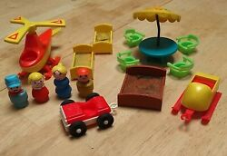 Fisher Price Vintage Little People 15 Piece Lot Helicopter Snowmobile Car