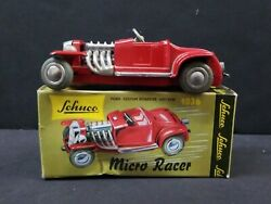 Schuco Micro Racer 1036 Ford 1932 Custom Roadster Hot Rod Red Wind Up Toy Car 4