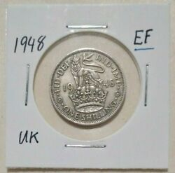1948 Ef United Kingdom One Shilling - Crowned Lion 1s Coin In 2x2 Holder Grade