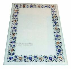 36 X 60 Marble Dining Table Top Inlay Floral Design Meeting Table For Office