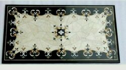 30 X 60 Inch Marble Coffee Table Top Mosaic Art Decent Look Patio Table For Lawn