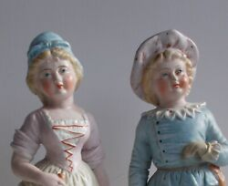 German Bisque Porcelain Antique Figurines Of A Boy And A Girl Statue - A Pair