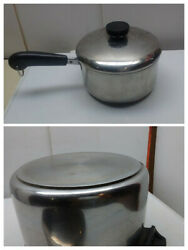 Piick 1]revere Ware Stainless Tri-ply Bonded Base Saucepan Pot Fry Skillet Lid