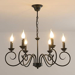 Jaycomey Rustic Chandelier,6-lights Black French Country Chandelier,metal For