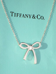 And Co Argent Sterling Chaandicircne Solide Collier Noeud Ruban Collier